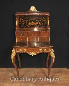Antico Impero francese Bonheur Du Jour Ufficio scrivania Inlay