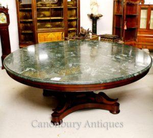 Antico Regency Centro tavolo da pranzo in marmo Tabelle Top Mogano