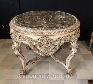 Luigi XVI verniciato rotonda Centro Tavolo da pranzo Centro