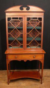 Antico Edwardian Sheraton Cina Cabinet Libreria