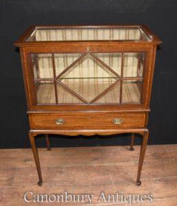 Antico Edwardian la porcellana mobile in legno di Satinwood petto