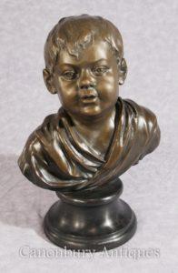 Classica francese in bronzo del ragazzo Busto Casting Bambino