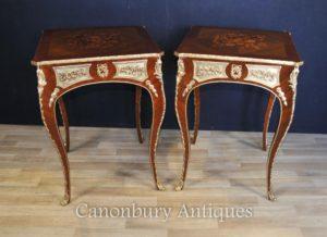 Coppia Luigi XVI tabelle laterali mobili francesi Intarsio Inlay