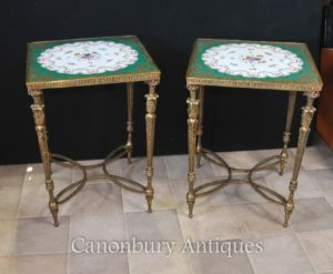 Coppia Parigi Sevres Gilt porcellana Consolle Top floreali