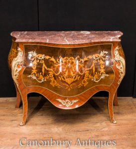 Impero francese Bombe petto cassetti Commode Intarsio Inlay