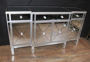 Specchio Mobili Buffet Art Deco Mirrored Breakfront Credenza Server ...
