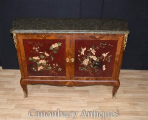 Antique francese Cabinet Commode lacca Intarsio Inlay 1880