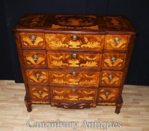 Antique olandese Intarsio cassettiera 1840 a comoda Casse