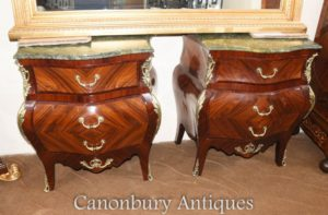 Coppia Impero francese Bombe commodes Kingwood Cassettiere