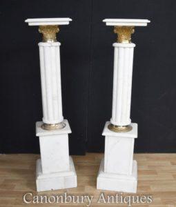 Pair Impero Francese Pedestal Marmo Colonne Tavole