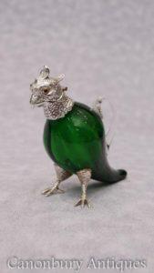 Piatto d'argento vittoriano piatto di pappagallo bevande dispenser decanter