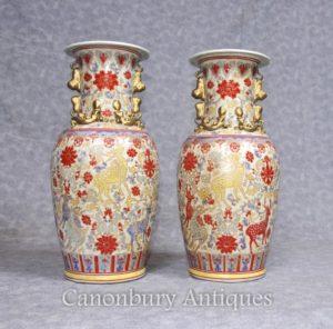 Accoppia i cinesi Celadon Porcellana Vasi Urne Cervo dipinto a mano