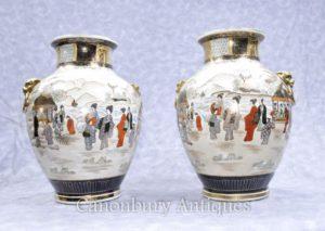 Accoppia i giapponesi Vasi di porcellana di porcellana Satsuma dipinte a mano