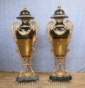 Accoppiamenti Vasi di vetro Francese Luigi XVI Ammorfo Urmani Ormolu