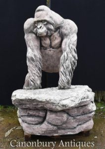 Giant Lifesize Stone Gorilla Giardino Statua Scimmia Ape Art