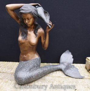 Grande statua della sirena del bronzo della statua del conch del giardino caratteristica dell'acqua architettonico