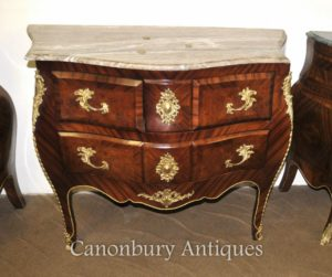 Impero francese Bombe Commode Cassapanca Top in marmo