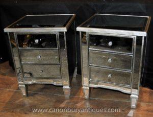 Pair Art Deco Mirrored Comodini Comodini Comodini Comodini
