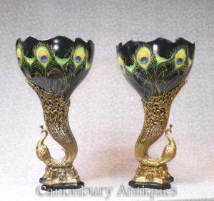 Pair Art Nouveau Porcelain Pavone Vasi Uccelli Uccelli