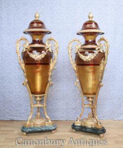 Pair Big Francese Taglio Vetro Amphora Urns Vasi Luigi XVI