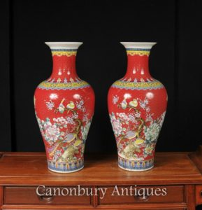 Pair Cinese Jiaqing Porcellana Vasi Uccelli Rosso Imperiale