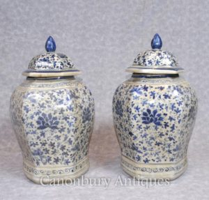 Pair Cinese Nanking Porcellana Ginger Temple Urns Vasi Vaso