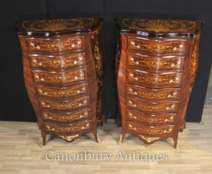 Pair Impero Francese Bombe Cassetti Cassetti Commodes Tall Boys