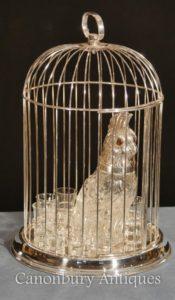 Panoplia di vetro argento vittoriano cavatappi di pappagallo Decanter