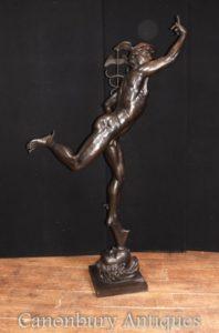 XL Statua di Mercurio Bronze Italiano Casting Hermes di Giambologna