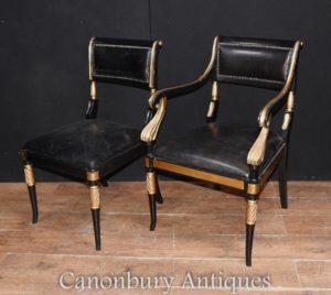 Pair Regency Chair in lattice Sedie con braccioli