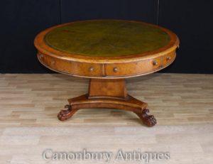 Regency Walnut Center tavolo in tamburo in pelle da tavolo