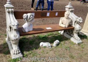 Panchina per giardino in pietra leone alato
