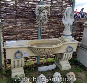 Testa di Neptunes della fontana di parete inglese della depressione dell'acqua di pietra