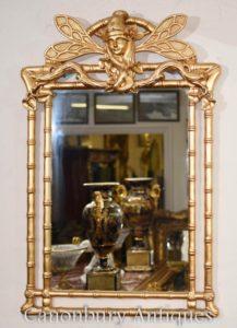Art Nouveau molo dorato specchio di vetro a forma di libellula