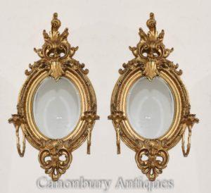 Coppia di Girandoles dorati francesi in stile Luigi XVI con specchi di candelabro