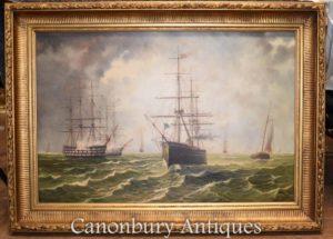 Dipinti ad olio marittimo Galleons Seascape canale inglese