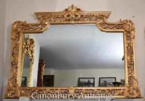 Grande specchietto inglese dorato con chippendale