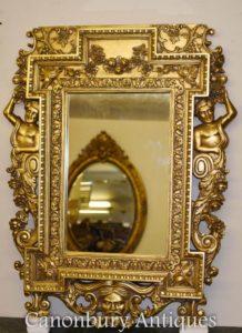 Inglese Chippendale Gilt Pier Mirror Atlas Satyr