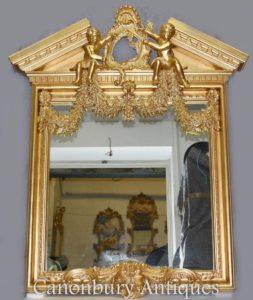 Inglese Palladian Gilt Pier Mirror Cherubs Neo Classical