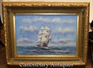 Pittura a olio inglese nave Sea Scape Maritime Art
