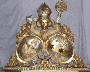 Scultura russa della scultura a stemma scolpita mano dorata