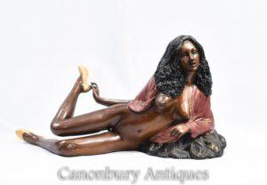 Bronze 70 Sexy Lady semi nudo figurina Erotica Kitsch