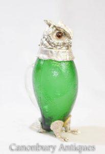Caraffa di vetro Victorian Silver Decanter Jug Hawk Eagle