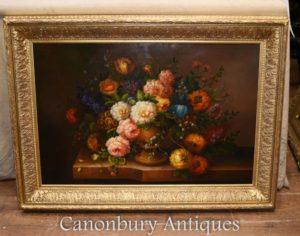 Fiore floreale vittoriano inglese della pittura a olio dello spruzzo
