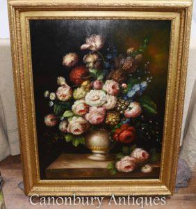 Grande pittura a olio di Nature morte di visualizzazione del fiore del Victorian