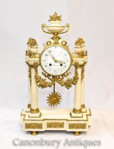 Impero Francese Marmo Orologio Orologio Ormolu Infissi Classici