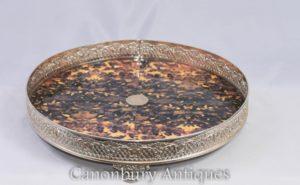 Vassoio vittoriano in argento con vassoio da portata
