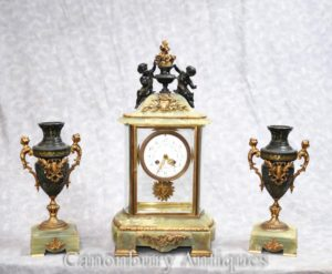 Antique Empire Onyx Gilt Clock Set Timepiece Cherub Garniture