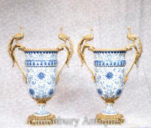 Coppia fioriere Dresda in porcellana bianca e blu campana