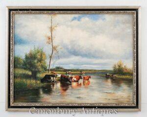 Constable del paesaggio della scena del fiume pastorale della pittura a olio vittoriana